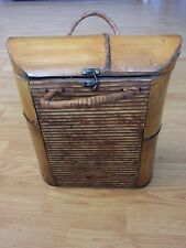 """Wine Champagne Two Bottle Wooden Carrier Bamboo Brass 13 1/2"""" X 11"""""""
