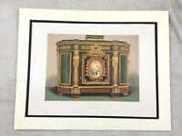 1862 Print French Louis XVI Cabinet Furniture Design Antique Chromolithograph