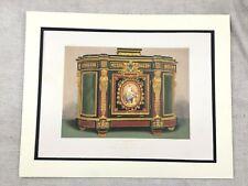 1862 Imprimé Français Louis XVI Armoire Meuble Design Antique Chromolithographie