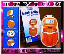 Tevion Radio Uhr Wecker BDR 200 Badradio LCD Display Wand Duschradio Orange weiß