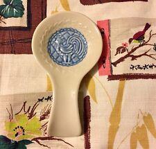 🐓 Longaberger American Craft Cornflower Blue Spoon Rest Rooster Pottery Farm