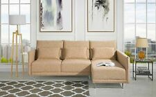 "Mid-Century Small Living Room Sofa 87.8"" inches Linen Fabric Sectional (Beige)"