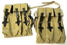 WWII GERMAN MP44 STG44 AMMO POUCHES- TAN CANVAS W/ BLACK LEATHER