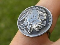 Ring Buffalo Indian Nickel coin sterling silver feather wrap rustic nice gift