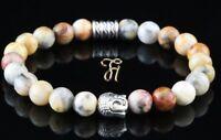 Marmor Achat Armband Bracelet Perlenarmband Buddhakopf silber 8mm