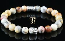 Marble Agate Bracelet Pearl Bracelet Buddha Head Silver 8mm