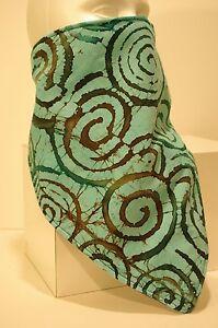 Aqua Swirl batik fleece lined bandana snowboard face mask