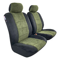 Faux Sheepskin Seat Covers Car Truck Front Airbag Easy Fit, Midnight Green Black