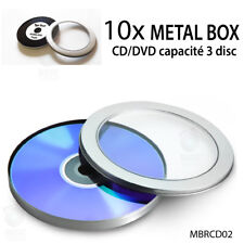 10x BOITIER METAL ROND BOBINE MOVIE FENETRE WINDOW METALIQUE SILVER BOX BOITE