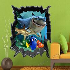 Large Finding Nemo 3D Sea View Fish Shark Art Decals Kids Wall Stickers Mural UK