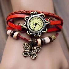 Women Vintage Charm Fashion Butterfly Bracelet Faux Leather Quartz Wrist Watch