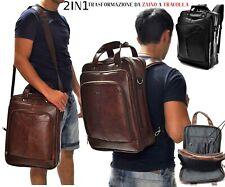 Zaino tracolla 2in1 Uomo Scuola Lavoro Viaggio pelle pc Impermeabile rigido