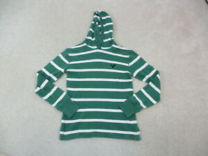 American Eagle Shirt Adult Extra Small Green White Long Sleeve Hoodie Mens A86*