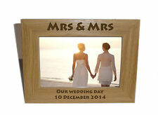 Mrs & Mrs Celebration Wooden Frame 7x5 - Personalise this frame - Free Engraving