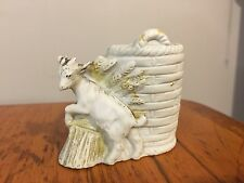 Vtg German Bisque Toothpick Holder Baby Goat w/ Wheat Sheaf