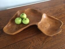 Oka Hand Crafted Large Wood Bowl Dish Fruit Bowl Solid Wood Display Plate
