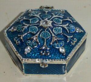 MONET ENAMELD TRINKET BOX BLUE & SILVER WITH YELLOW INSIDE
