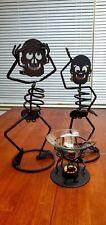 PartyLite Halloween Skeleton Rare Mrs. Bones, Mr. Bones, & Warmer Candle Holders