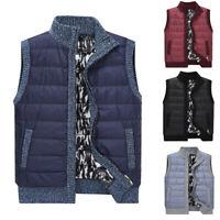 Fashion Mens Velveted Sweater Vest Zip Mock Neck Slim Sleeveless Jacket Coat Top