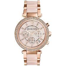 Michael Kors Uhr MK5896 PARKER Damen Chronograph Edelstahl Rosegold Rosa Armband