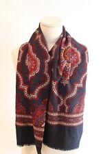 Jaeger+Mirow Women's 100% Wool Schurwolle Pelo Scarf Flower Navy Blue Wrap $109