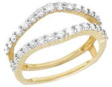 Ladies 14K Yellow Gold Genuine Diamond Guard Enhancer Jacket Ring 3/4 CT 9MM
