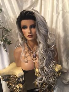 """HOT, Human Hair Blend,Multipart,Lace Front,32"""" Long, Rooted Platinum Gray Wig!"""