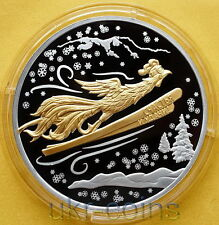 2017 Laos Lunar Year of the Rooster 1 Oz Silver Proof Gilded Coin Ski 雞/鷄 Zodiac