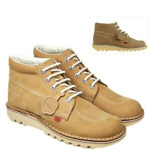 Kickers Kick Hi M Core Mens Ankle Boots Casual Nabuck LaceUp Tan Leather Shoes