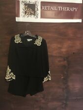 Beautiful Maggy London Skirt And Jacket Black With Cream Lace 12