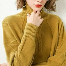 High Quality Winter Woman  Cashmere Sweater Knitted Pullover Warm Turtleneck