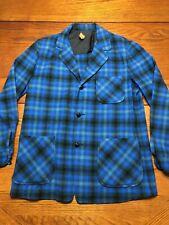 Pendleton Women's Vintage Blazer Size M Tartain Plaid Blue Green 100% Wool