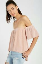 Women's Pearl Pink Pleated Off The Shoulder Boobtube Top Size 10 RRP $35 💙AUS💙