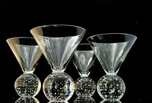 Bubble Ball Base Martini Cocktail Glasses Clear Contemporary Cosmo Stemless - 4