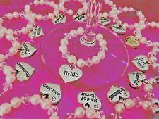 WINE GLASS CHARMS.  WEDDING- BRIDE, GROOM, BRIDESMAID, HEN PARTY U CHOOSE (EACH)