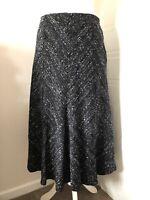 Per Una Black Grey Flared Midi Skirt Size 12 Velvet Devore Fabric Fully Lined