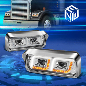 For 81-19 Freightliner Kenworth Dual Projector LED DRL Signal Headlight Lamp Set