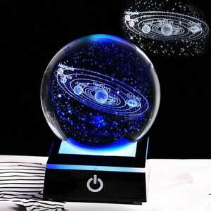 Crystal Globe 3D Laser Engraved Astronomy Ball with Touch Switch LED Light Base