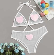 Sheer Love Heart Lingerie Set See-Through Kawaii Underwear Sexy Lace Bikini Set
