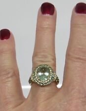 Vintage Style Green Amethyst, Peridot & Diamond Ring  10K Gold Gold size 5 3/4