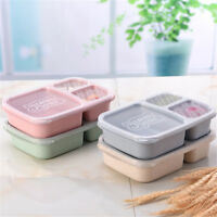 Compartments Lunch Boxs Wheat Straw Microwave Quality Health Natural Student x1