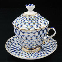 Cup with saucer and lid tea, Lomonosov Porcelain, Grid-Cobalt, IFZ, Russia