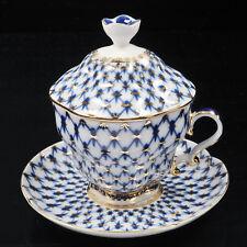 Cup with saucer and lid tea, Lomonosov Porcelain, Grid-Cobalt, IFZ, Russia