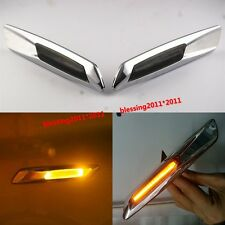 Chrome Trim LED Side Marker Amber For BMW E90 E91 E60 E82 F10 Style Smoke Lens