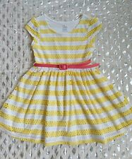 The Childrens Place yellow striped jersey belted dress sz 4