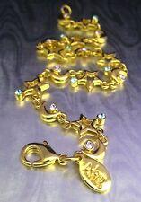 Joan Rivers Classic Celestial Line Bracelet Crystals Star Moon Gold Plate 5U