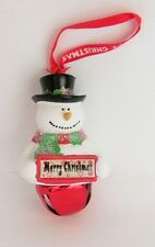25310 MERRY CHRISTMAS NAME FROSTY SNOWMAN COLOUR BELL CHRISTMAS TREE DECORATION
