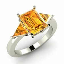 Certified 2.33 Ct Emerald Cut Citrine 14k White Gold Three Stone Engagement Ring
