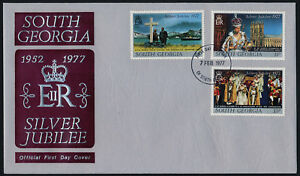 South Georgia 48-50 on FDC - Queen Eizabeth Silver Jubilee, Ship, Westminster