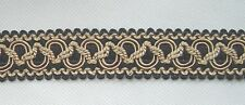 "1"" Braid 3 YD Black Soft Gold has matched tassel fringe cord"